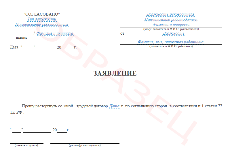 Образец заявления на увольнения по соглашению сторон