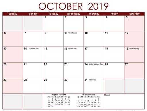 Календарь, для бухгалтера в октябре 2019