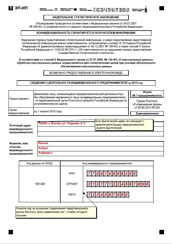Форма 1-предприниматель за 2015 год бланк скачать бесплатно