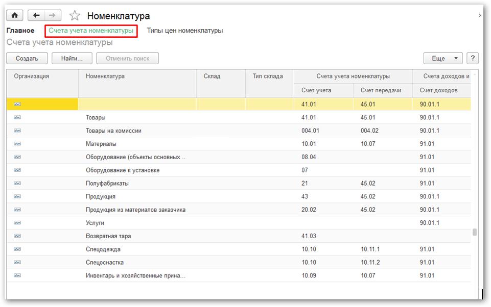 Счета учета в 1С Бухгалтерии 8.3: номенклатура и контрагенты