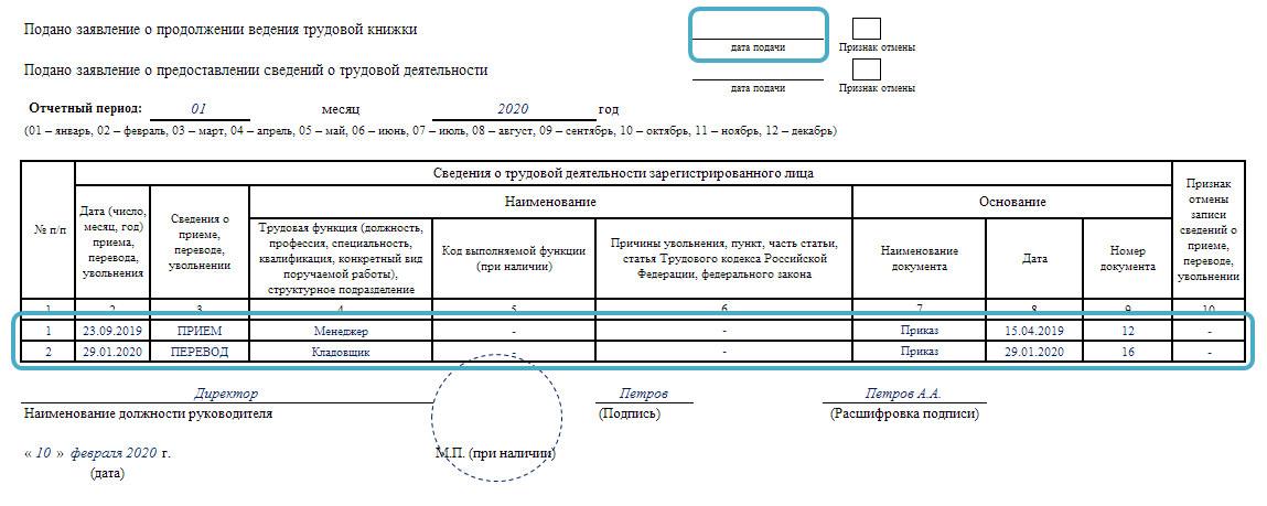 Пример заполнения СЗВ-ТД в январе 2020 года