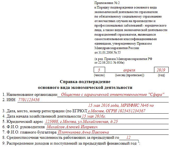 Подтверждение основного вида деятельности в ФСС в 2019 году